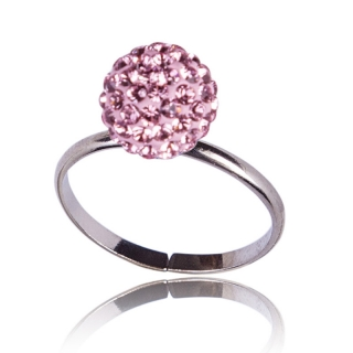 Prsten Pave Ball Light Rose