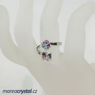Prsten se Swarovski ELEMENTS 2x Kostička 6mm