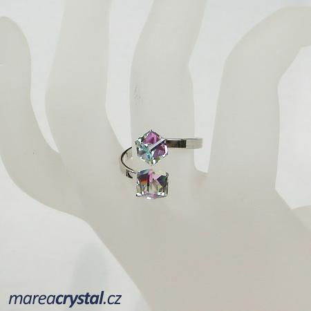 Prsten se Swarovski ELEMENTS 2x Kostička 6mm