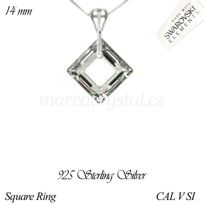 Stříbrný Náhrdelník se Swarovski ELEMENTS Square Ring