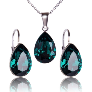Souprava Xilion Pear 14mm Emerald