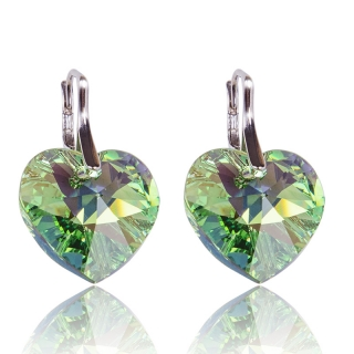 Náušnice Heart 18mm Peridot